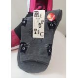 女裝短襪 - 貓頭 - 灰色 - 日本製