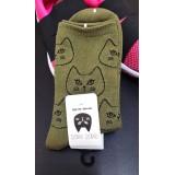 女裝短襪 - 瞪眼 - 軍綠色 - 日本製