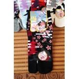 女裝短襪 - 賞櫻 - 黑色