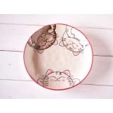 餐碟 - 三隻貓貓等食中 - 粉紅色 -日本製