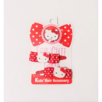 Hello Kitty髮夾 - 紅色 - 日本製