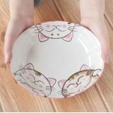 3隻貓貓等食中大餐碟 - 粉紅色 - 日本製