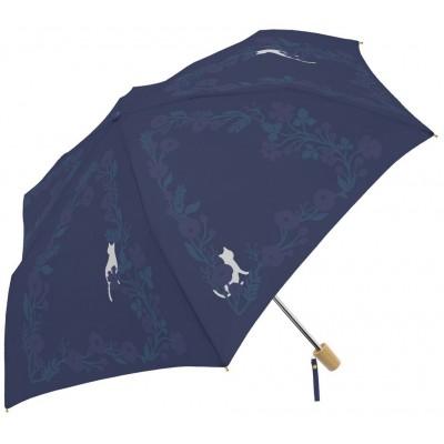 貓貓與花花晴雨兩用縮骨遮 - 海軍藍色