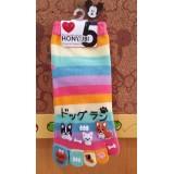 女裝五趾短襪-粉紅色尾趾