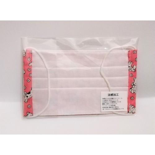 小狗與花花圖案涼感加工布口罩 - 粉妚色 -日本製