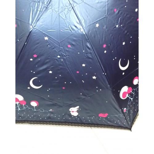 月光下的兔仔晴雨兩用縮骨遮 - 藍色