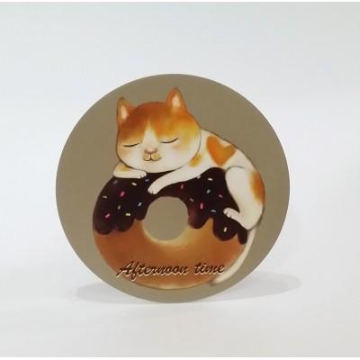 吸水杯墊 - 貓貓與甜甜圈