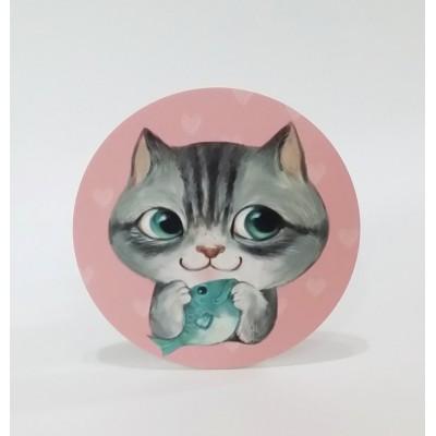 吸水杯墊 - 貓貓與魚