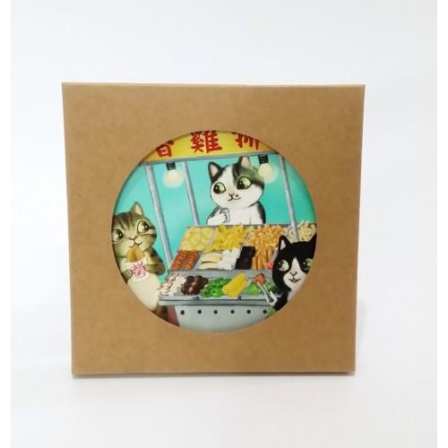 吸水杯墊 - 貓貓與小食檔