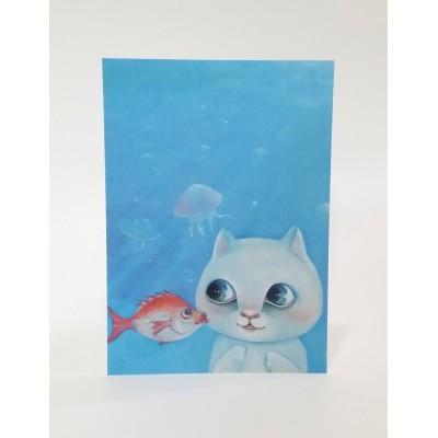 明信片 - 貓貓遊水族館